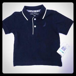 NAUTICA baby boys polo shirt Sz 18m navy blue 100%
